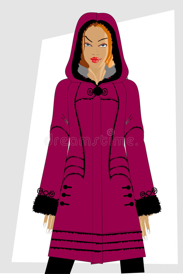 Winter women's clothes. stock illustration