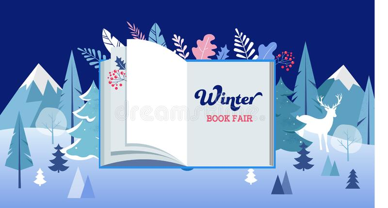 Winter wonderland, Book fair banner with open book and frozen trees. Vector illustration. Template vector illustration