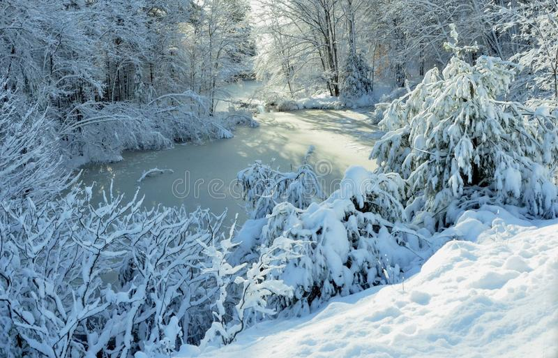 A Winter Wonderland - Harrison, Maine on November 26, 2014. Wonderful Winter Contrast and Colors! A Winter Wonderland royalty free stock photos