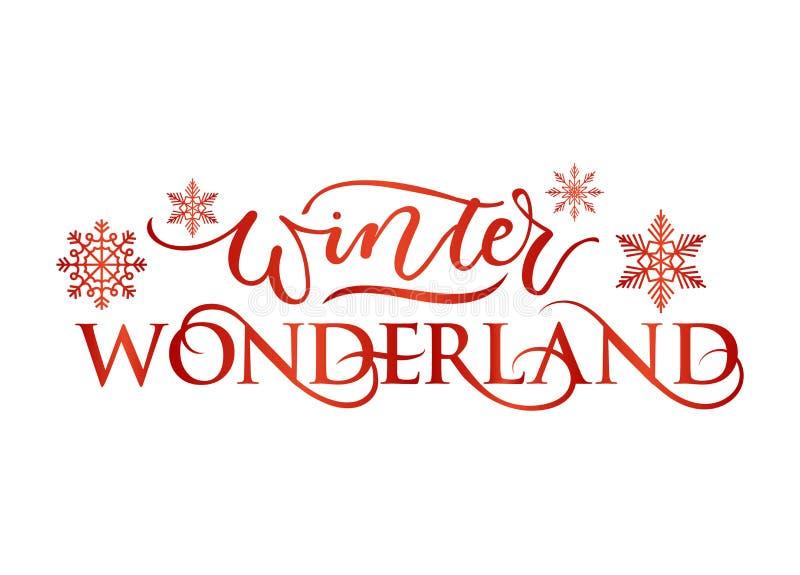 Winter wonderland inspirational holidays card with lettering. Vector illustration royalty free illustration