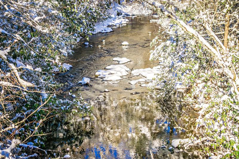 Winter wonderland landscape along mountain river stock photography