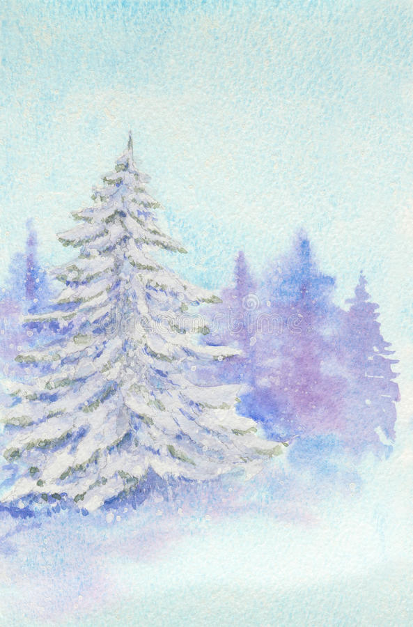 Winter wonderland. Watercolor showing spruce or pine tree covered in snow in the evening forest in winter vector illustration