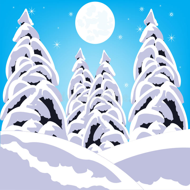 Winter in wood stock illustration