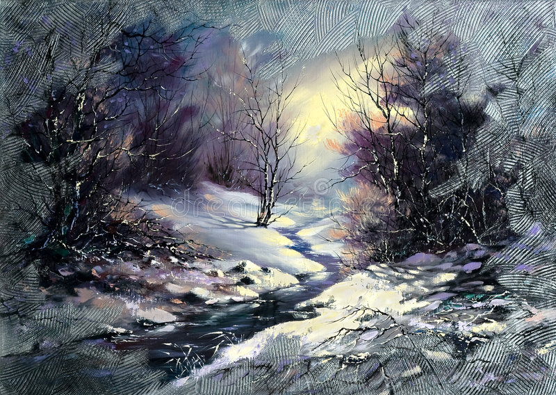 Winter wood small river royalty free illustration