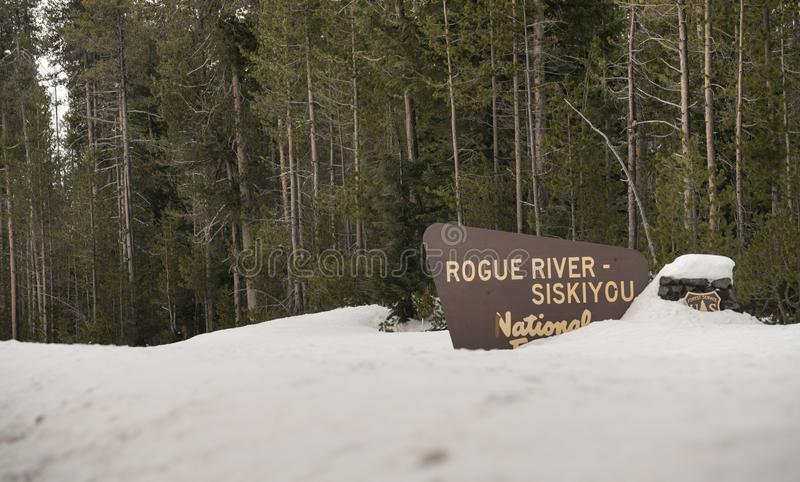Winter Woods Rogue River Siskiyou National Forest Welcome Sign royalty free stock images