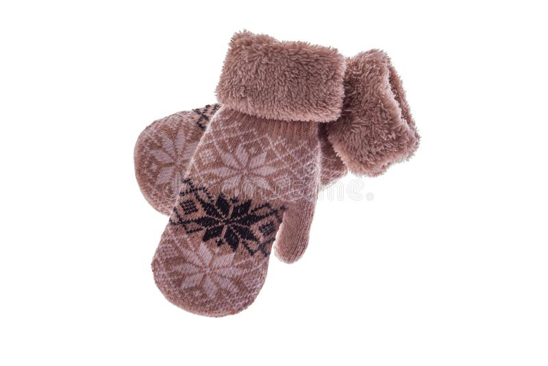 Winter wool mitts on a white background. royalty free stock photo