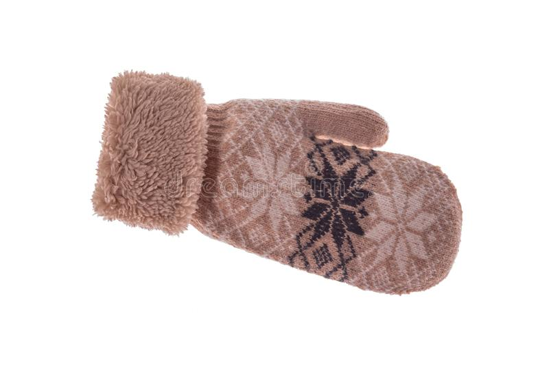 Winter wool mitts on a white background. stock photo