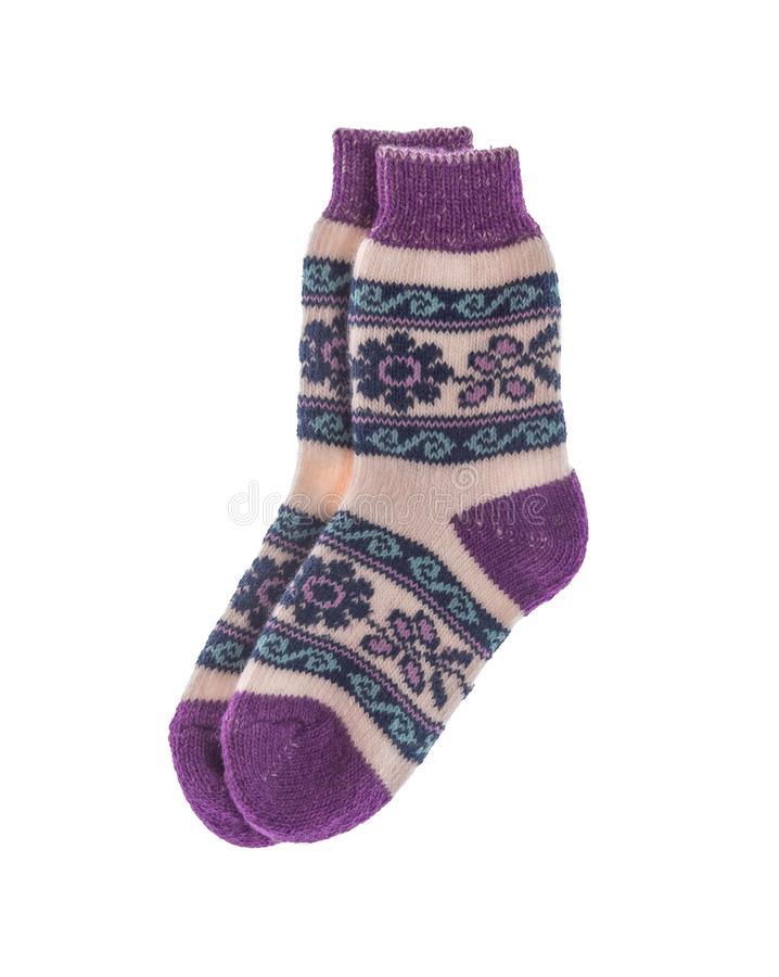 Winter wool socks on a white background. stock photo