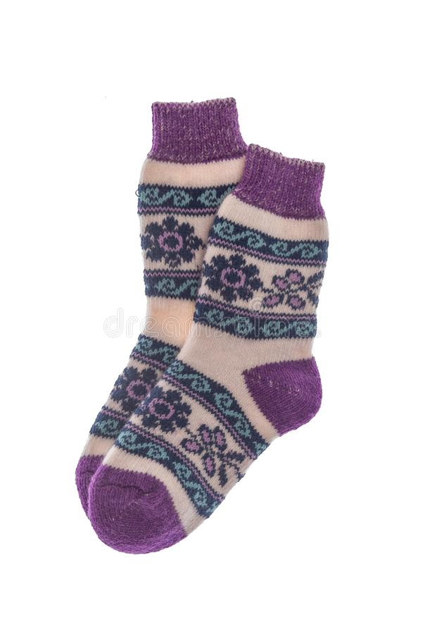 Winter wool socks on a white background. royalty free stock photos