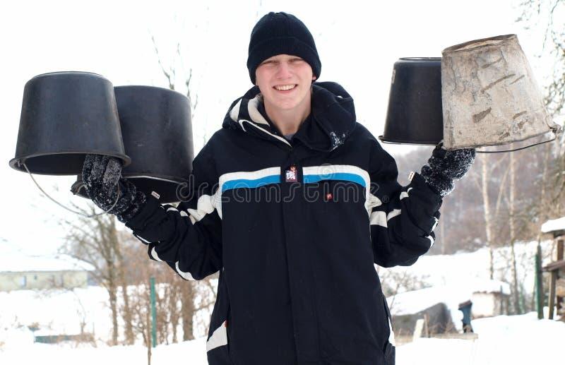 Winter work stock photo