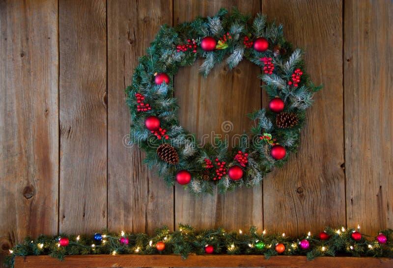 Christmas Winter Wreath Over Mantle stock photo
