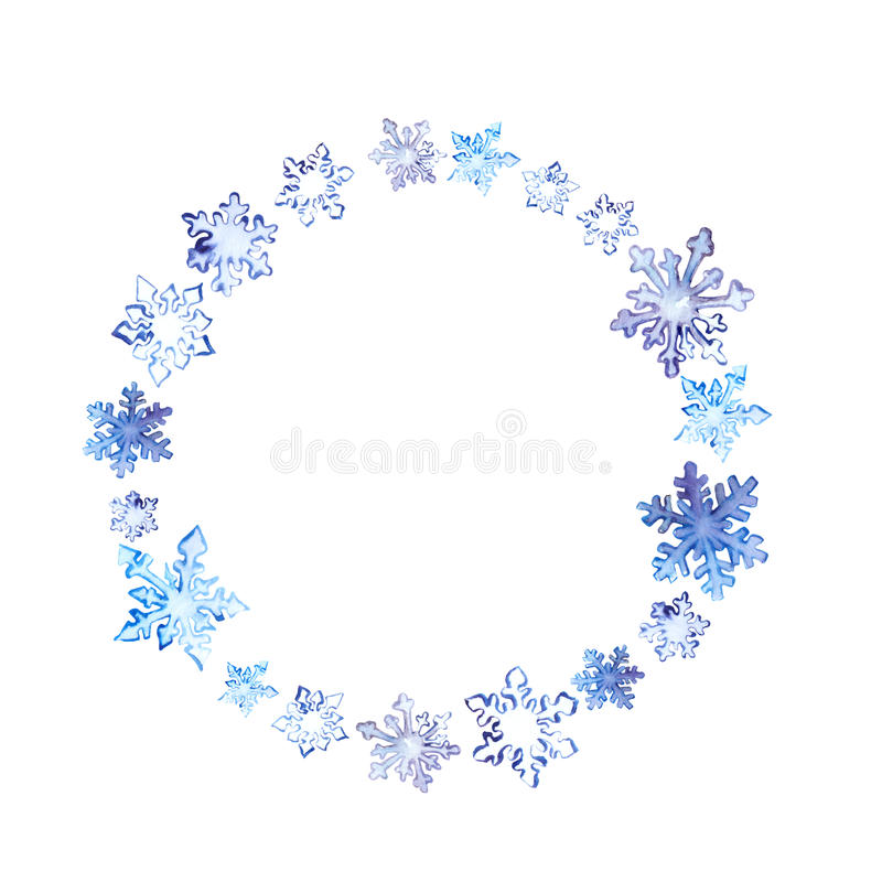 Winter wreath with snowflakes. Watercolor round frame vector illustration