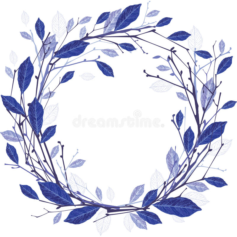Winter wreath of twigs and leaves illustration. Vector drawing of a wreath of twigs and frozen leafs, isolated object. Winter composition vector illustration