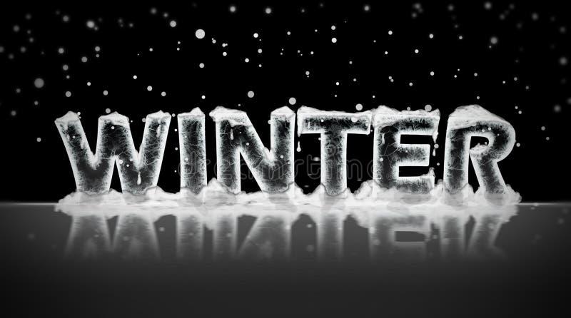 Winter written in ice stock illustration