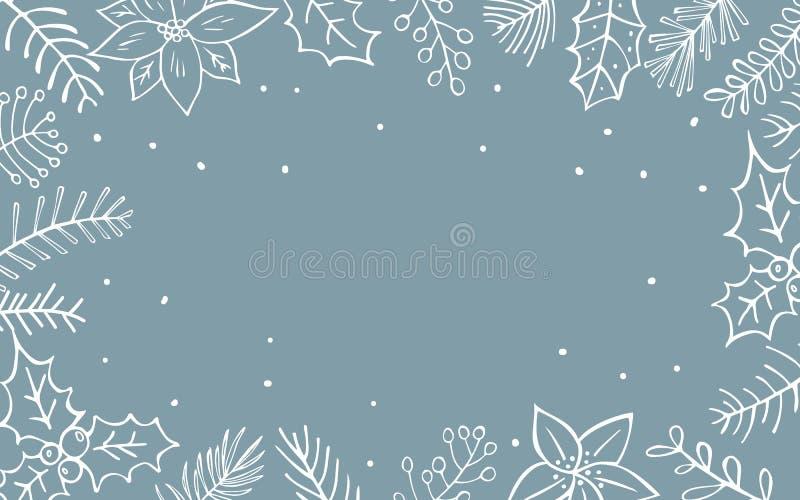 Winter xmas christmas seasonal foliage branches flowers twigs border. Texture stock illustration