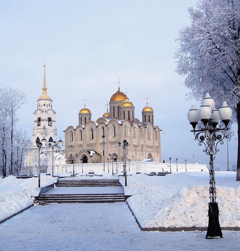 Winterabend-Annahme Kathedrale in Vladimir stockfotos