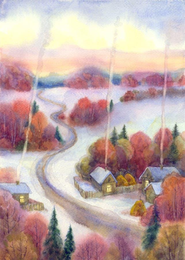 Winterabend im Dorf lizenzfreie abbildung