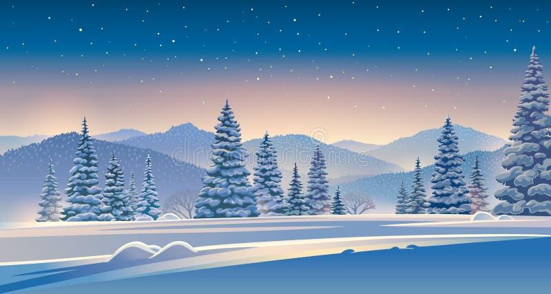 Winterabendlandschaft mit schneebedeckten Bäumen stock abbildung