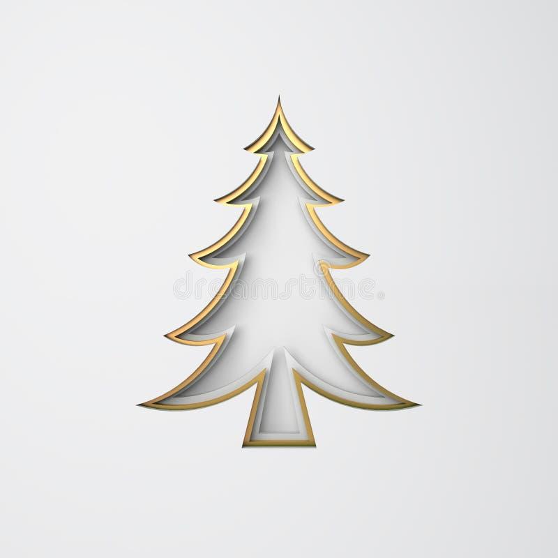 Winterabstrakte, Design kreatives Konzept, Goldkiefer, Fichte, Tannenbaumpapier schneiden Origami auf weißem Hintergrund Flachlag stock abbildung