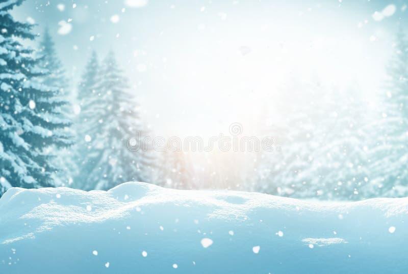 Winterachtergrond Kerstlandschap met sneeuw en bosboom royalty-vrije stock fotografie