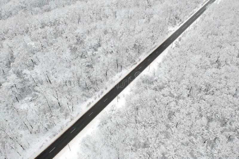 Winteransicht einer Straße mitten in dem Wald lizenzfreies stockbild