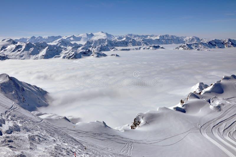 Winteransicht von der Kitzsteinhorn Spitze, lizenzfreie stockfotografie