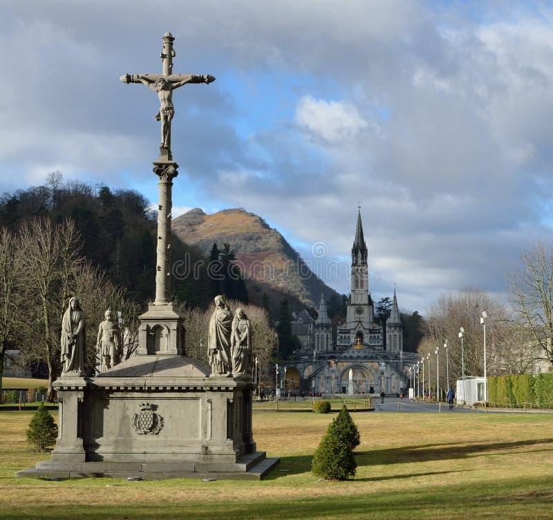 Winteransicht von Lourdes stockbilder