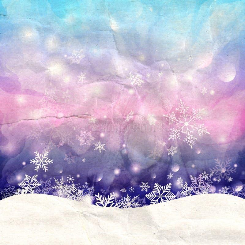 Winteraquarellhintergrund mit Schneeflocken lizenzfreies stockfoto