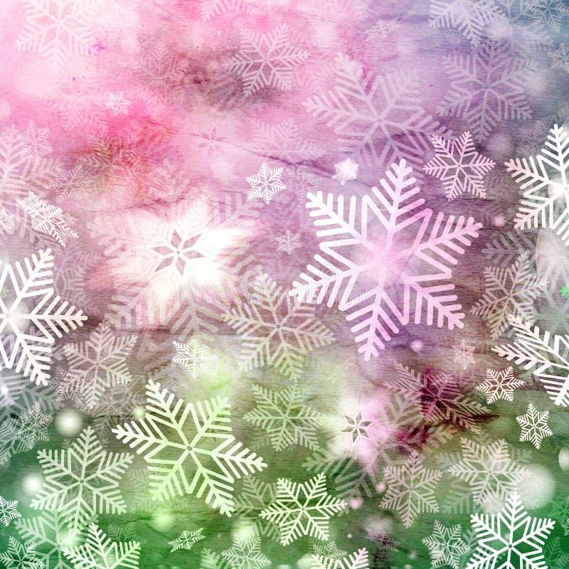 Winteraquarellhintergrund mit Schneeflocken lizenzfreie abbildung