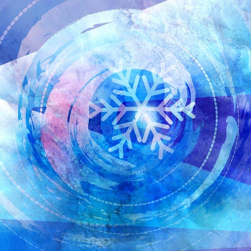 Winteraquarellhintergrund mit Schneeflocken lizenzfreie stockfotografie