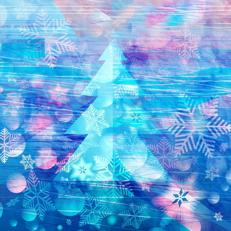 Winteraquarellhintergrund mit Weihnachtsbaum lizenzfreie stockbilder