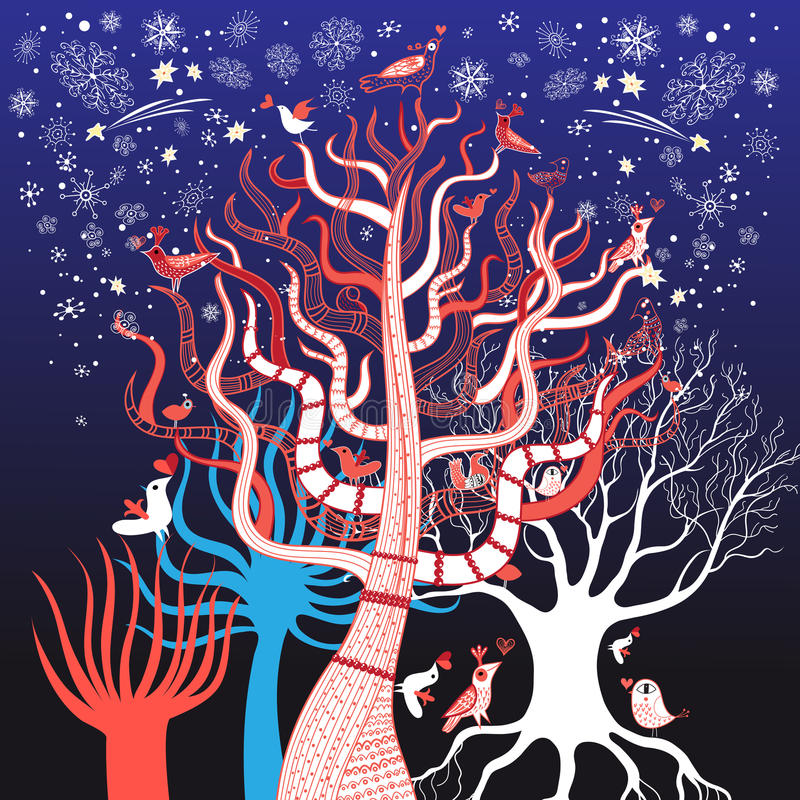 Winterbaum mit Vögeln vektor abbildung
