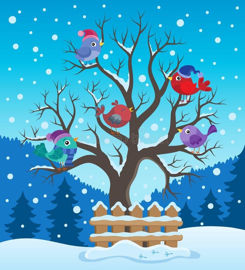 Winterbaum mit Vogelthemabild 2 stock abbildung