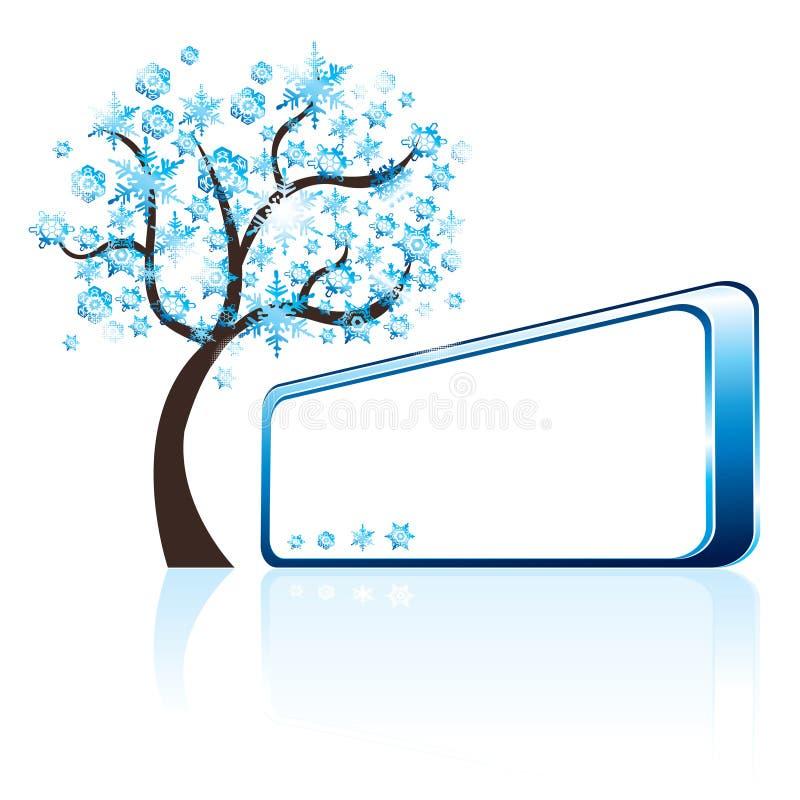 Winterbaum und -fahne stock abbildung