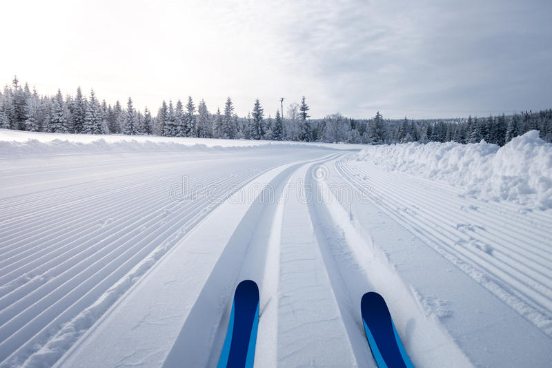 Winterberglandschaft mit Cross Country-Skifahrenspuren lizenzfreie stockfotografie