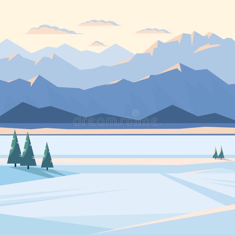 Winterberglandschaft mit Schnee und belichteten Bergspitzen, Fluss, Tannenbaum, Ebene, Sonnenuntergang stockfotografie