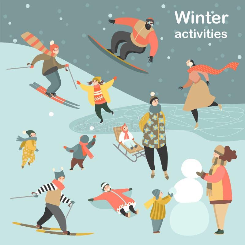 Winterbetriebe eingestellt mit den Leuten, die Schneemänner machend und Schneebälle spielend Ski fahren, eislaufen, Snowboardings stock abbildung