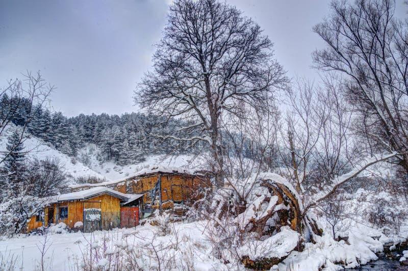 Winterbild - schneiend lizenzfreies stockfoto