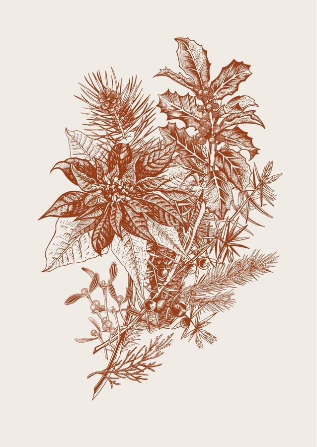 Winterblumenstrauß lizenzfreie abbildung