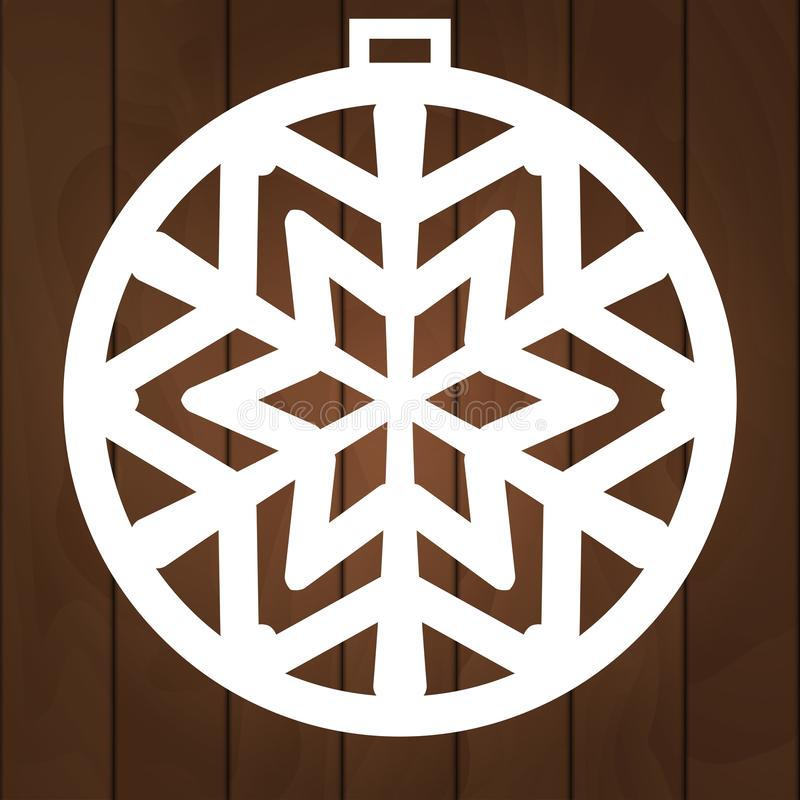 Winterdekorations-Vektorentwurf Weihnachtssymbol für Papierausschnitt, das hölzerne Schnitzen und Laser-Ausschnitt Dieses ist Dat stockbild
