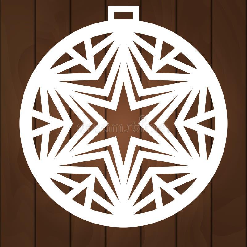 Winterdekorations-Vektorentwurf Weihnachtssymbol für Papierausschnitt, das hölzerne Schnitzen und Laser-Ausschnitt Dieses ist Dat lizenzfreie stockbilder