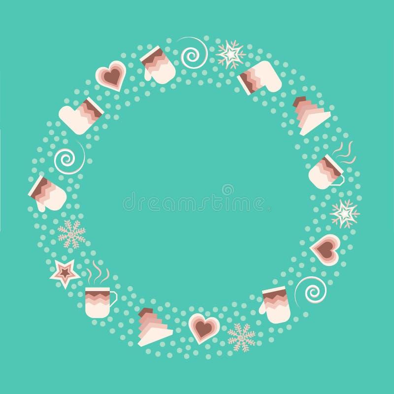 Winterfahne lokalisiert auf turquois Hintergrund Runde Zusammensetzung für Weihnachtskarten lizenzfreie abbildung