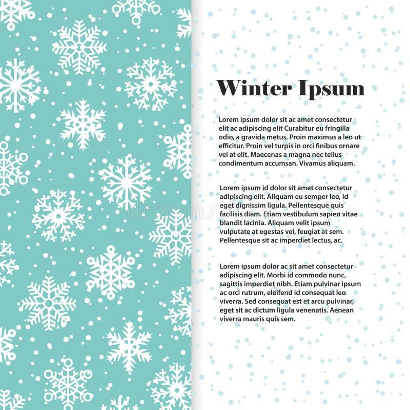 Winterfahne oder Fliegerschablone mit weißen Schneeflocken stock abbildung