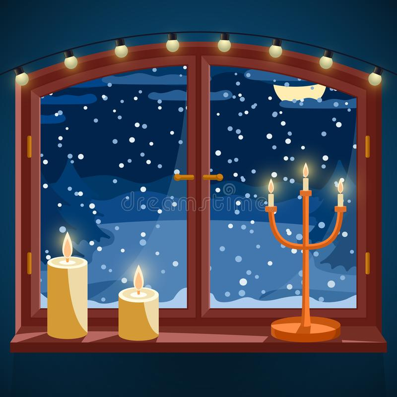 Winterfenster mit Kerzen, Kerzenhalter und heller Girlande nachts, schneebedeckte Landschaftsansicht mit gezierten Bäumen durch stock abbildung
