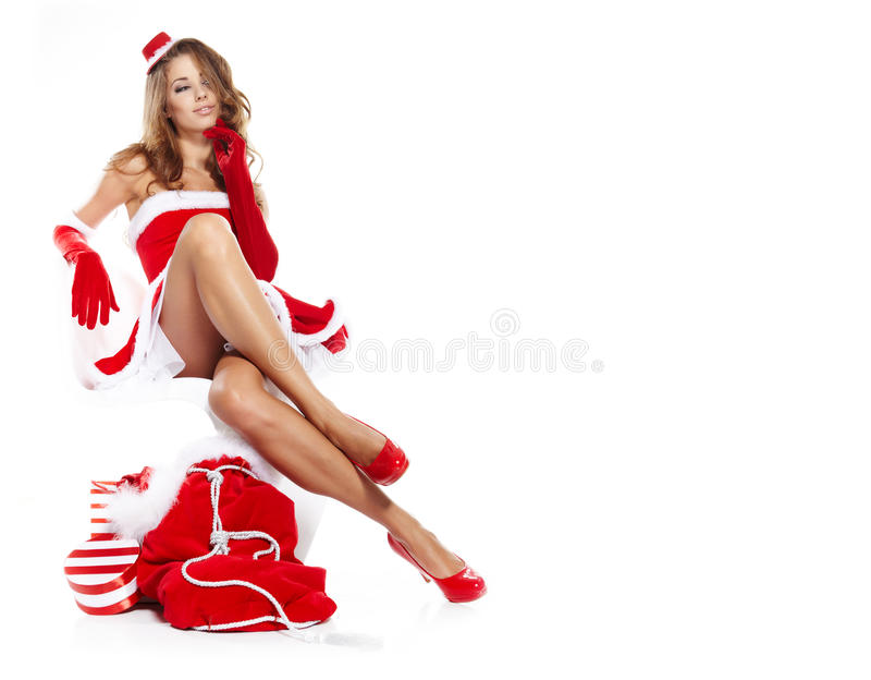 Winterfrau mit Geschenken stockfoto