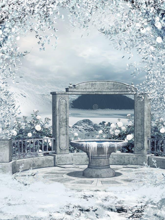 Wintergarden met een fontein royalty-vrije illustratie