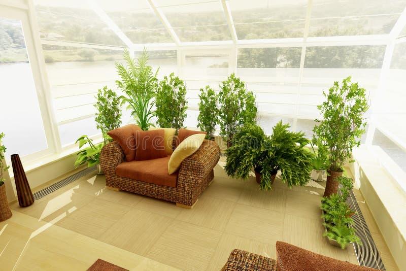 Wintergarden met plants_3 stock illustratie