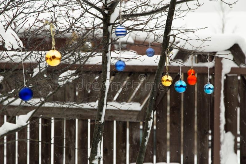 Wintergarden na neve com decoração do Natal foto de stock royalty free