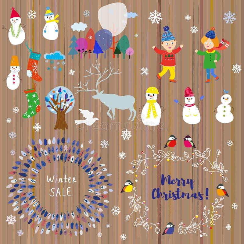 Wintergarten für Weihnachten und Feiertage Witzige Icons und Rahmen-Design Vector-Illustration lizenzfreie abbildung