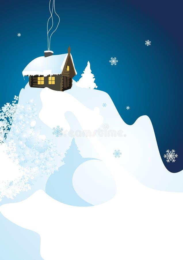 Wintergebirgskabine stockfotografie